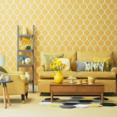 30 Awesome Yellow Living Room Color Schemes That People Never Seen - Barthram News Living Room Furniture, Living Room Paint, Yellow Living Room Colors, Yellow And Grey Living Room Wallpaper, Wallpaper Living Room, Yellow Living Room Furniture, Yellow Living Room, Living Room Accessories, Mustard Living Room Accessories