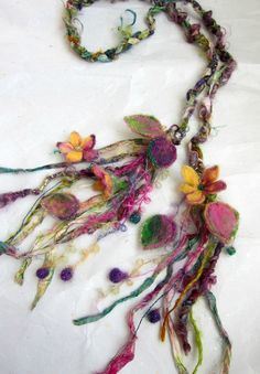enchanted forest fantasy fairy garland lariat by beautifulplace - wool, ribbons and needle felted leaves and flowers