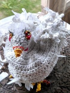Crochet Sculptured Plarn Chicken Shoulder Bag