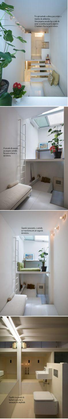 Veja o que um bom arquiteto pode fazer. Uma casa inteira em poucos metros quadrados, a cozinha totalmente equipada, banheiro, área de trabalho, sala de estar e quarto separado. A maneira como os espaços foram utilizados é genial!
