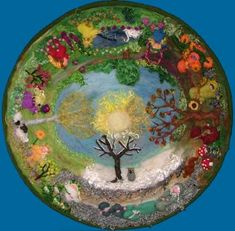 Wheel of the Year ~ Wheel of Life ~ Wet Felting, Needle Felting, Wiccan, Magick, Wooly Bully, Waldorf Crafts, Wheel Of Life, Felt Pictures, Medicine Wheel