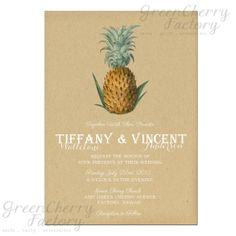 Vintage Pineapple Hawaii Destination Summer Wedding Invitation - Printable Tropical Wedding Invite - No.295. $18.00, via Etsy.