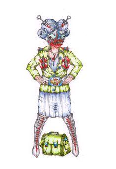 Froleyn Heyderich: Frl. H. ist die Klassenlehrerin der 6b und mit gestrenger Hand lenkt sie die Brut aus der Vorhölle durch den regulären Schulalltag, in ihrer Freizeit liebt sie es, Herrn Braun zu maßregeln und ungehorsames Unkraut auszureißen  Bild und Text © Nadja Schüller - Ost, 2016 #nadjaschuellerost #frl.heyderich#candice_end_frendz#graphic_novel #scetch#illustration