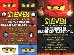 """Ninjago Invitations & matching Party Supplies available .This invitation in the Ninjago theme will """"WOW"""" your party guests. Customized just for you; party supplies to match are available. 18 different design styles to choose from. Party Plates, Party Cups, Diy Party, Party Favors, Custom Party Invitations, Disney Scrapbook, Party Guests, Design Styles, Digital Scrapbooking"""
