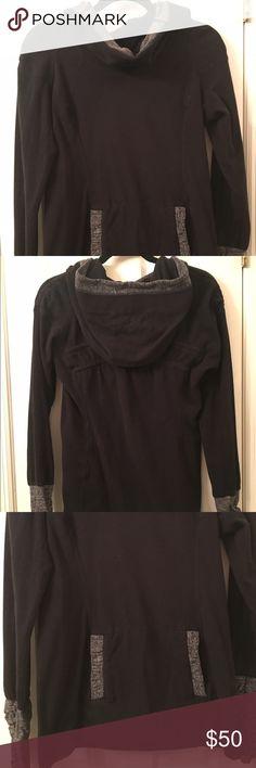 Lululemon hooded fleece sweatshirt Black hooded fleece with thumb holes in sleeves. Fitted and hits just below hips. lululemon athletica Tops Sweatshirts & Hoodies