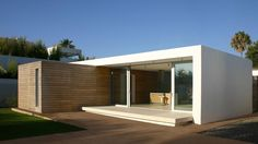 Casa Sandra is a minimal home located in Spain, designed by HB Design Pte Ltd. This extension to an existing house is about the ju. Modular Homes, Prefab Homes, Contemporary Architecture, Interior Architecture, Container Architecture, Japanese Architecture, Residential Architecture, Casas Containers, Minimal Home
