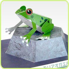 Papercraft de una rana arbórea. Manualidades a Raudales.