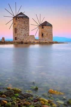 Windmills, Chios, Greece by Emmanuel Panagiotakis. Chios is the fifth largest of the Greek islands, situated in the Aegean Sea, 7 kilometres off the Anatolian coast. The island is separated from Turkey by the Chios Strait. Chios is notable for its exports Places To Travel, Places To See, Travel Destinations, Greece Destinations, Travel Things, Travel Stuff, Places Around The World, Around The Worlds, Chios Greece
