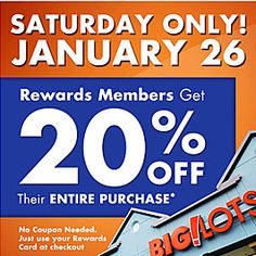 Big Lots Coupon - 20% Off Purchase - http://www.livingrichwithcoupons.com/2013/01/big-lots-coupon-20-off.html