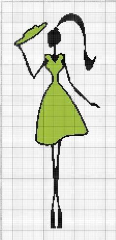 0 point de croix silhouette noire et vert - cross stitch green and black silhouette