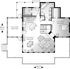waterfront home plans   ... & Crafts House Plan First Floor - 032D-0686   House Plans and More