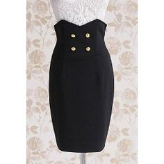 Vintage Six Buttons Wave Cut Zipper Back Black Worsted Women's Wrapped Skirt | TwinkleDeals.com