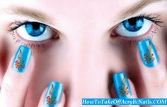 http://howtotakeoffacrylicnails.com/how-to-take-off-acrylic-nails-with-dental-floss-at-home/  Acrylic nails application has become more than just a fashion. It sends an impression of style and grace with a touch of class.