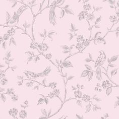 Fine Decor Birds from Live Laugh Love Collection Pink Silver - Fine Decor from I love wallpaper UK