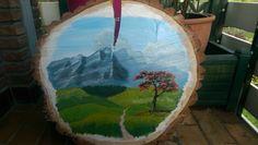 Firetree on a slice of wood, Acryl