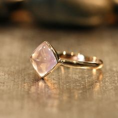 Bezel Set Cushion Cut Rose Quartz Ring in 14k Rose Gold 8x8mm Gemstone and Recycled Gold Ring (Other Metal Available)