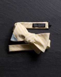 Luke Men's Bow tie - Pastel yellow white stripe with baby blue tip bowtie