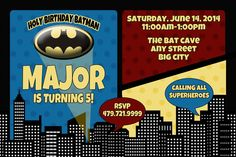 Batman Invitation by JenDzines on Etsy