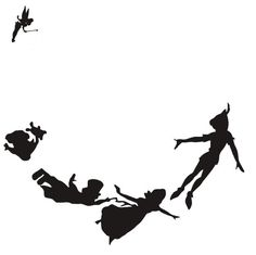 Peter Pan, Tinker Bell and Wendy, John, and Michael Darling and flying. black and white silhouette by SweetSisters