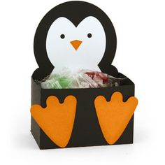 This is the cutest little project! Look for other animals/projects in this series of Lori Whitlock's 'Belly Boxes'. CAMEO and Portrait compatible. Valentine Day Boxes, Valentines Diy, Happy Birthday Girls, 3rd Birthday, Penguin Baby Showers, Penguin Birthday, Snow Theme, Winter Birthday, Baby Penguins
