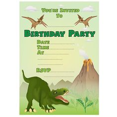 Image Result For Dinosaur Party Invitation