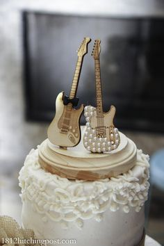 A #unique #wood #guitar wedding topper - a Mr. and Mrs.@