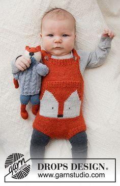 Baby fox onesie / drops baby - free knitting patterns by drops design. Baby Knitting Patterns, Baby Boy Knitting, Knitting For Kids, Baby Patterns, Free Knitting, Finger Knitting, Scarf Patterns, Knitting Machine, Crochet Patterns