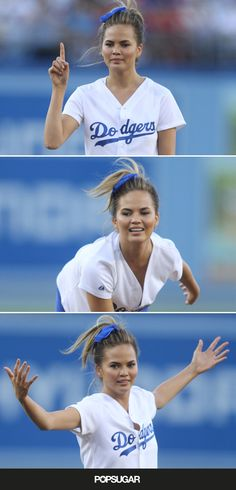 Watch Chrissy Teigen throw a perfect first pitch, even though she was drunk.