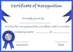Certificate of Recognition Templates: Best Ideas and Free Samples - Demplates Certificate Of Recognition Template, Certificate Format, Certificate Templates, Certificate Of Appreciation, Company Names, Retirement, Are You The One, Good Things, Free Samples