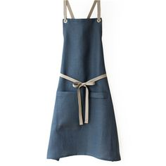 Linen-Cotton blend Apron - Slate Blue. Tall pocket & a loop to hang a towel.