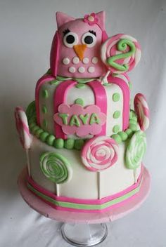 A Pink Owl Cake with Lollipops! (this is C's second choice cake) Pretty Cakes, Beautiful Cakes, Amazing Cakes, Take The Cake, Love Cake, Owl Cakes, Cupcake Cakes, Monkey Cakes, Owl Cake Birthday