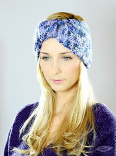 Large blue knit crochet headband. Cute for keeping those precious ears warm in the winter #headband #headbands #hairstyle