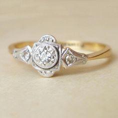 Antique Art Deco Diamond Ring, 18k Gold & Platinum Ring, Vintage Diamond Ring, Vintage Antique Wedding Engagement Ring, Size 6.25. $415.00, via Etsy.