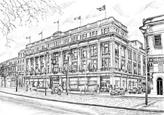 Clerys O' Connell Street Dublin Irish Art, Art For Sale, Dublin, How To Draw Hands, Louvre, Black And White, Street, Drawings, Building