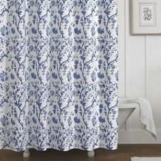 Shop for Laura Ashley Charlotte Blue and White Floral Cotton Shower Curtain x Get free delivery On EVERYTHING* Overstock - Your Online Shower Curtains & Accessories Store! Get in rewards with Club O! Laura Ashley Home, Ashley Blue, Floral Shower Curtains, Country Shower Curtains, Shower Liner, White Shower, White Bathroom, Green Bathrooms, Small Bathroom