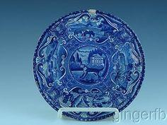 Antique Dark Blue Staffordshire Transferware Plate Quadrupeds Dog By Hall C 1825