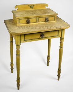 Antique dressing table painted stenciled c1810 20 for Thin dressing table