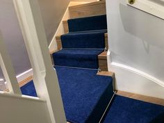 Loving this combination of Quick Step Floors Elgina Laminate flooring fitted to a stairs and landing in Ascot. Finished with Greendale Carpets Bamburgh Twist Military Blue stair runner and StairrodsUK chrome stair rods. Fitted by Steve. Flooring Shops, Types Of Flooring, Quick Step Flooring, Stair Rods, Carpet Styles, New Carpet, Laminate Flooring, Floors, Chrome