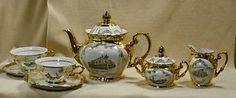 VINTAGE-GOLD-BAVARIA-PORCELAIN-TEA-SET-TEAPOT-6-CUPS-SAUCERS-SUGAR-CREAMER