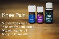 Essential Oils For Pain, Essential Oil Diffuser Blends, Therapeutic Grade Essential Oils, Young Living Essential Oils, Healing Oils, Young Living Oils, Knee Pain, Pain Relief, Knee Exercises