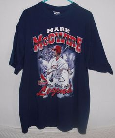 Vintage Mark McGwire T Shirt Size 2XL St Louis Cardinals MLB 1998 Navy   4978 #SportAttack #GraphicTee