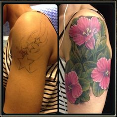 Done by Todd at Adrenaline Toronto.  #tattoos #toronto #colourtattoos #coverup #adrenaline #adrenalinetoronto #flowers #torontotattoos