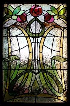 art nouveau butterfly stained glass door dunfermline by stephen-weir, via Flickr