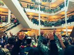 Police brutality protests in Portland are still going strong. Today they have taken over Pioneer Place mall!  #BlackLivesMatter (Photo by Cameron Whitten)