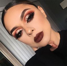 glam makeup glittery-cut-crease-eye-makeup-bold-lipstick-night-out-makeup-ideas-min Prom Makeup Looks, Fall Makeup Looks, Cute Makeup, Gorgeous Makeup, Fall Eyeshadow Looks, Spring Makeup, Fall Eye Makeup, Bronze Eye Makeup, Pretty Makeup Looks