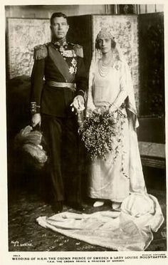 Crown Prince Gustaf Adolf of Sweden and Lady Louise Mountbatten - 1923  Lady Louise Mountbatten once said: 'I will never marry a king or a widower', but in the end she did both. On 3 November in 1923 she married the widowed crown prince Gustav-Adolf of Sweden, who would later be King Gustav VI Adolf. He was first married to Louise's cousin, Princess Margaret of Connaught, who died in 1920.