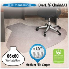 ES Robbins Professional Series AnchorBar Workstation Chair Mat for Carpet up to 3/4 - 5'x5'5'', Clr