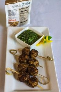 Straight Up Granola™ Meatballs with Spinach and Cashew Pesto - Upfront Foods, LLC