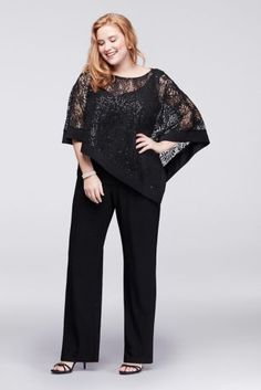 The pantsuit is a shortcut to elegance, particularly when it features the sparkle of sequin lace and the demure coverage of a sheer, flowing capelet. By R&M Richards Three-piece ensemble Nylon