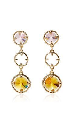 Orange Crystal Circle Drop Earrings  by OSCAR DE LA RENTA Now Available on Moda Operandi